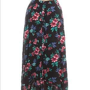 NWT Hollister Floral Long High Low Skirt